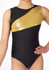 Alegra Girls Saturn Sleeveless Gymnastics Leotard Black-Gold #3. [Black-Gold]