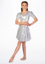 Alegra Girls Metallic Circle Dance Skirt Silver front. [Silver]