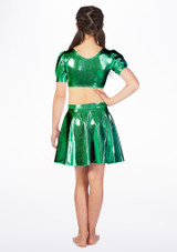 Alegra Girls Metallic Circle Dance Skirt Green back. [Green]