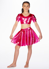 Alegra Girls Metallic Circle Dance Skirt Pink front. [Pink]