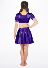 Alegra Girls Metallic Circle Dance Skirt Purple back. [Purple]