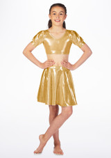 Alegra Girls Metallic Circle Dance Skirt Gold front. [Gold]