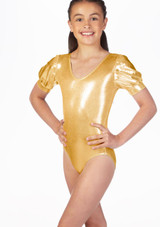 Alegra Girls Metallic Rosalie Leotard Pink front. [Pink]