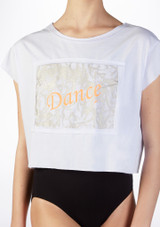 So Danca Kids Dance Cropped T Shirt White front #2. [White]