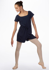 Ballet Rosa Teen Romper Warm Up Suit Blue front. [Blue]