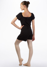 Ballet Rosa Teen Romper Warm Up Suit Black back. [Black]
