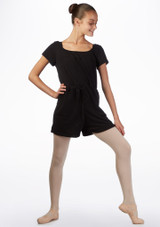 Ballet Rosa Teen Romper Warm Up Suit Black front. [Black]