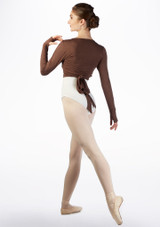 Ballet Rosa Soft Wrap Warm Up Top Brown back. [Brown]