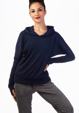 Ballet Rosa Warm Up Hoodie Blue front. [Blue]
