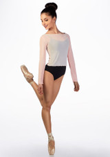 Ballet Rosa Mesh Warm Up Top Pink front. [Pink]