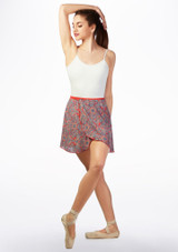 Basilica Short Patterned Wrap Skirt Coral Pink front. [Coral-Pink]