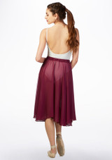 Basilica Mid Length Chiffon Skirt Red back. [Red]