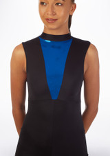 Alegra Fuse Sleeveless Catsuit Black-Blue front. [Black-Navy Blue]
