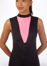 Alegra Fuse Sleeveless Catsuit Black-Pink front. [Black-Pink]
