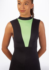 Alegra Fuse Sleeveless Catsuit Black-Green front. [Black-Green]
