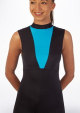Alegra Fuse Sleeveless Catsuit Blue front. [Blue]