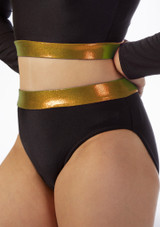 Alegra Fuse High Waist Brief Black-Gold front. [Black-Gold]