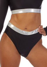 Alegra Fuse Girls Waistband Short Silver front. [Silver]