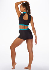 Alegra Fuse Sleeveless Crop Top Blue back. [Blue]
