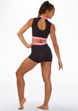 Alegra Fuse Sleeveless Crop Top Black-Pink back. [Black-Pink]