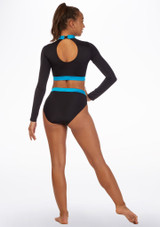 Alegra Fuse Long Sleeve Crop Top Blue back. [Blue]
