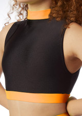 Alegra Fuse Long Sleeve Crop Top Orange front. [Orange]