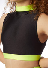 Alegra Fuse Long Sleeve Crop Top Black-Yellow front.