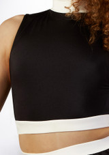 Alegra Fuse Long Sleeve Crop Top Black-White front. [Black-White]