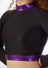 Alegra Fuse Long Sleeve Crop Top Black-Purple front.