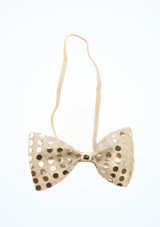 Sequined Bow Tie Silver front. [Silver]