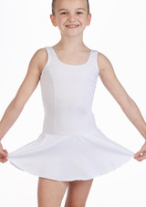 So Danca Girls Tank Skirted Leotard White front. [White]