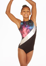 Alegra Spyra Sleeveless Gymnastics Leotard Black front. [Black]
