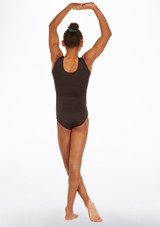 Alegra Spyra Sleeveless Gymnastics Leotard Black back. [Black]