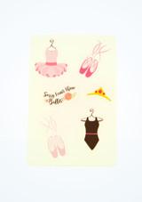 Ballet Bag Ballerina Stickers White front. [White]