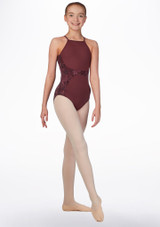 Bloch Teen Open Back Floral Mesh Leotard* Red front. [Red]