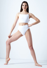 Move Dance Europa High Waisted Dance Briefs White front. [White]