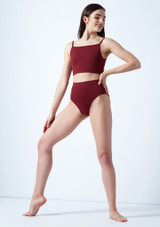 Move Dance Europa High Waisted Dance Briefs Red front. [Red]