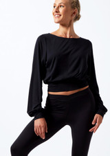 Move Dance Alive Warm Up Top Black front. [Black]