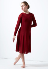 Move Dance Teen Dia Long Sleeve Lyrical Dress Red front. [Red]