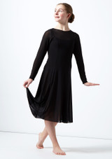 Move Dance Teen Dia Long Sleeve Lyrical Dress Black front. [Black]
