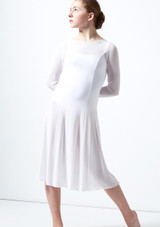 Move Dance Teen Dia Long Sleeve Lyrical Dress White front. [White]