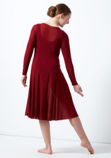 Move Dance Teen Dia Long Sleeve Lyrical Dress Red back. [Red]