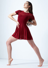 Move Dance Ceres Short Sleeve Lyrical Dress Red front. [Red]