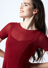 Move Dance Ceres Short Sleeve Lyrical Dress Red front #2. [Red]