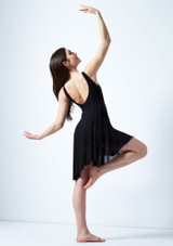 Move Dance Larissa High Split Lyrical Dress Black back. [Black]