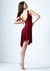 Move Dance Larissa High Split Lyrical Dress Red back. [Red]