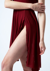 Move Dance Larissa High Split Lyrical Dress Red front #3. [Red]
