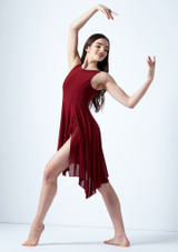 Move Dance Larissa High Split Lyrical Dress Red front. [Red]