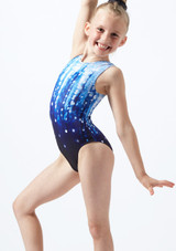 Alegra Spotlight Sleeveless Gymnastics Leotard Blue front. [Blue]