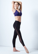Capezio Teen Cross Front Leggings Black front. [Black]